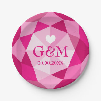 Pink diamond gemstone monogram wedding party paper plate