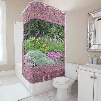 Pink Dianthus Silver Mound Lupine Shower Curtain