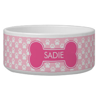 Pink Dog Bone And Paws With Name Pet Water Bowl