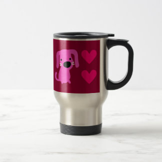 Pink Dog & Hearts Coffee Mugs