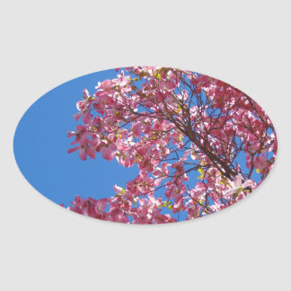 Pink Dogwood and Blue Sky Oval Sticker
