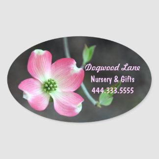 Pink Dogwood Bloom Oval Custom Sticker
