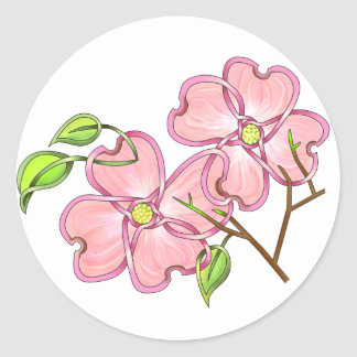 Pink Dogwood Classic Round Sticker
