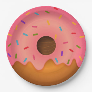 Pink donut 9 inch paper plate