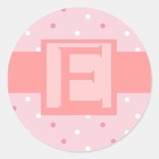 Pink Dot Monogram Wedding  Invitation Sticker