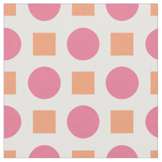 Pink dots and orange squares fabric