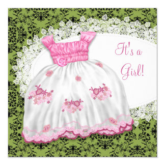 Pink Dress Pink and Green Baby Shower Card