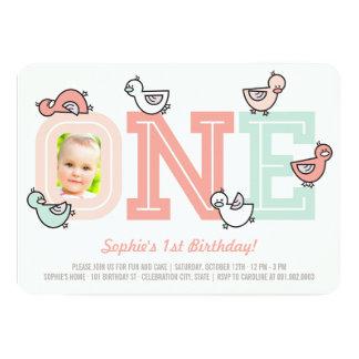 Pink Ducks Big One Girl 1st Birthday Party Invite
