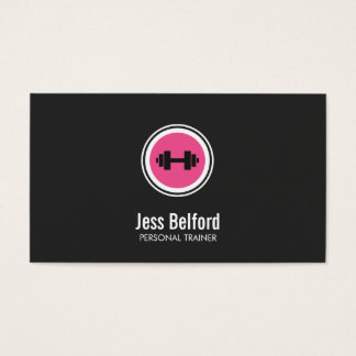 Pink Dumbbell Logo, Personal Trainer, Fitness Gym Business Card