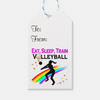 PINK EAT, SLEEP, TRAIN VOLLEYBALL GIFT TAGS