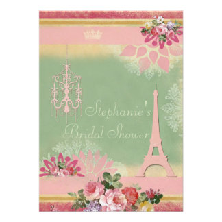 Pink Eiffel Tower and Chandelier Bridal Shower Personalized Invites