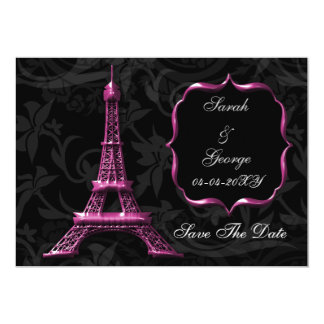 pink Eiffel Tower French wedding Save the Date Custom Invite