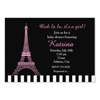 Pink Eiffel Tower Paris Black Baby Shower Invite