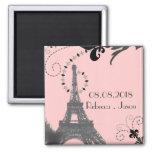 pink eiffel tower vintage paris save the date square magnet