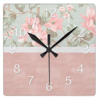 Pink Elegant Flower Floral Square Wall Clock