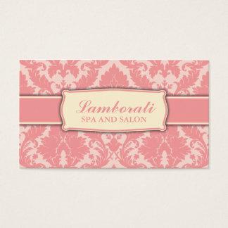 Pink Elegant Modern Damask Floral Pattern Business Card
