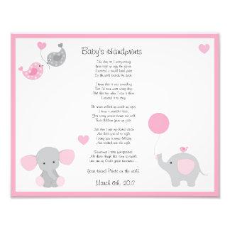 Pink Elephant Baby Girl Handprints Wall Art Print