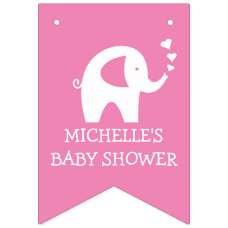 Pink elephant baby shower party bunting banner