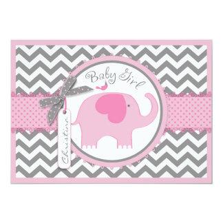 Pink Elephant Bird and Chevron Print Baby Shower Card