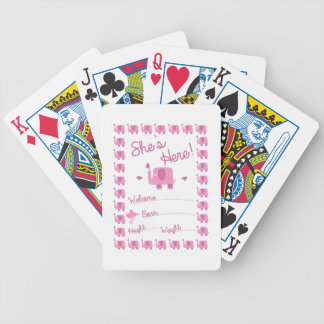 Pink Elephant Birth Announcement Bicycle Playing Cards