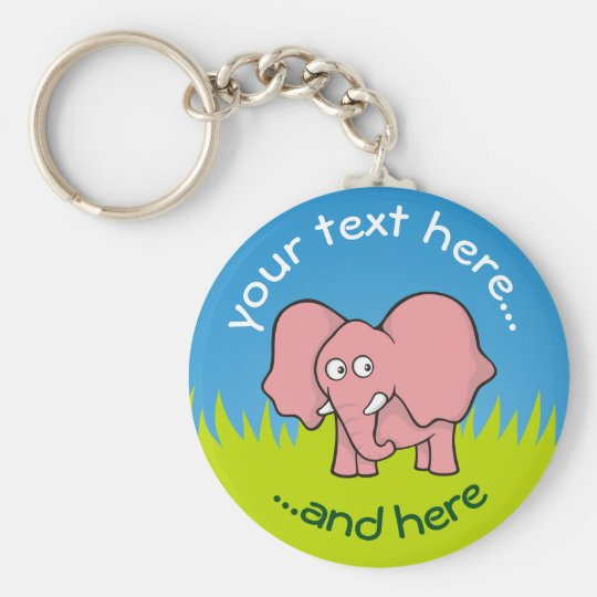 Pink elephant cartoon key ring