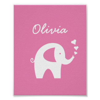 Pink elephant girl baby room nursery decor poster