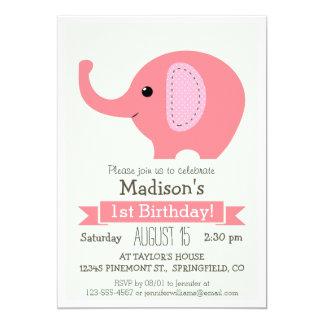 "Pink Elephant Girl's Birthday Party Invitation 5"" X 7"" Invitation Card"
