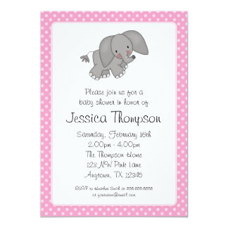 Pink Elephant Polka Dots Baby Shower Card