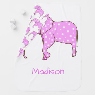Pink Elephant White Dots Personalised Baby Blanket