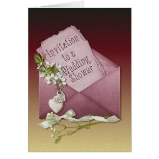 Pink Envelope Wedding Shower Greeting Card