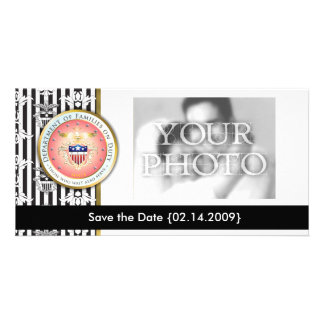 Pink Families on Duty Seal Customized Photo Card