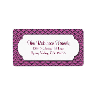 Pink Fan Pattern with White Frame Address Label