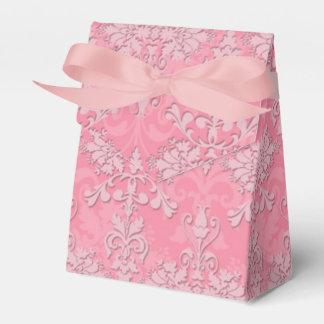 Pink Fancy Floral Damask Pattern Favour Box