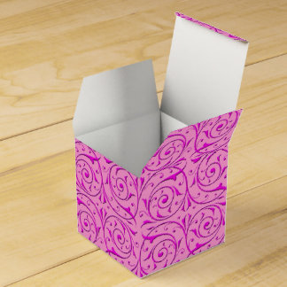 Pink Fancy Floral Swirly Damask Pattern Favour Box