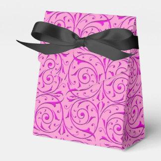 Pink Fancy Floral Swirly Damask Pattern Wedding Favour Box