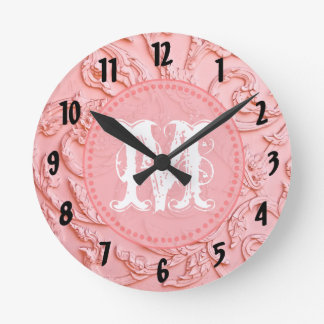 Pink Filigree Wood Monogram Initial Wall Clock