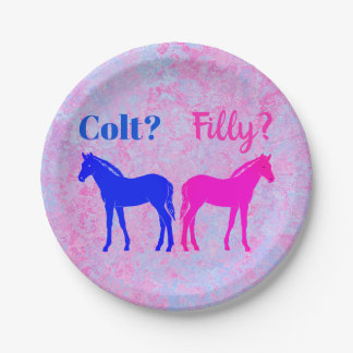 Pink Filly & Blue Colt Western Style Gender Reveal Paper Plate
