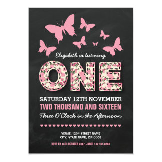 PINK FIRST BIRTHDAY PARTY | FLORAL BUTTERFLIES 13 CM X 18 CM INVITATION CARD