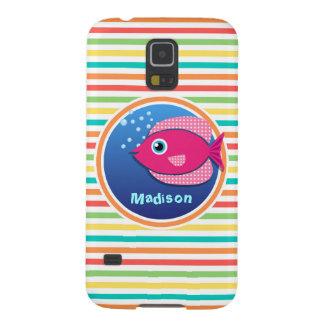 Pink Fish; Bright Rainbow Stripes Galaxy S5 Cases