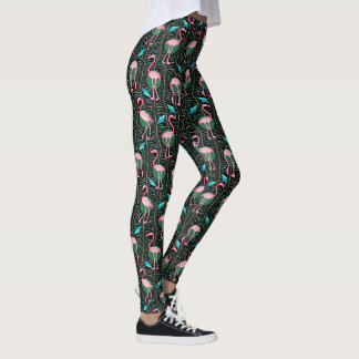 Pink Flamingo Art Deco Ferns Pattern 20s Birds Leggings