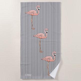 Pink Flamingo Bird Gray Stripe Optional Monogram Beach Towel