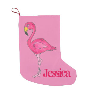 Pink Flamingo Bird Personalized Christmas Stocking