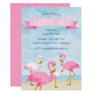 Pink Flamingo Birthday Party Card