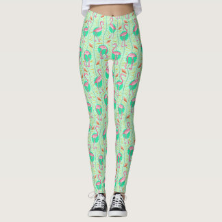 Pink Flamingo Ferns Tropical Green Summer Pattern Leggings