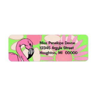 Pink Flamingo Flower Petal Camouflage Return Label
