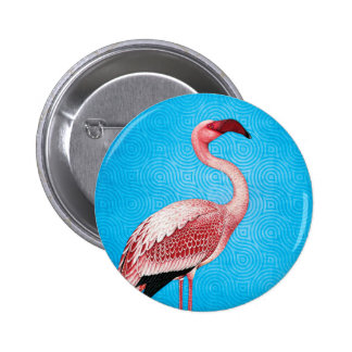 Pink Flamingo on Retro Blue Pattern 6 Cm Round Badge