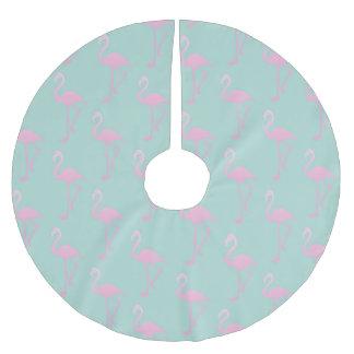 Pink Flamingo on Teal Seamless Pattern Brushed Polyester Tree Skirt