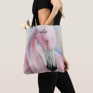 Pink Flamingo Pastel Art Personalized Tote Bag