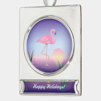 Pink Flamingo Silver Plated Banner Ornament