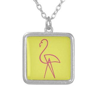 Pink Flamingo Square Pendant Necklace